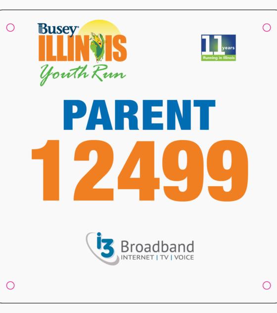 Youth Run Parent Bib
